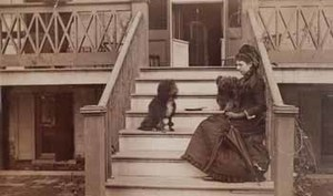Miss Langdon seated with two dogs on steps of piazza
