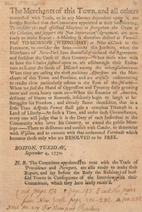 The Merchants of this Town, and all others connected with Trade, 4 September 1770