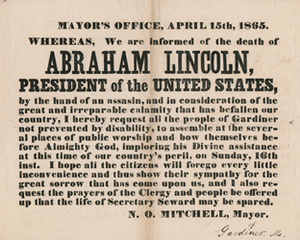 Mayor's Office, April 15th, 1865