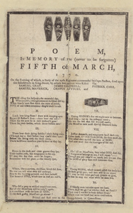 A Poem, in Memory of the (never to be forgotten) Fifth of March, 1770