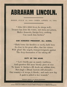 Abraham Lincoln. Born, July 12, 1809--Died, April 15, 1865