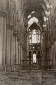 Interior view of a cathedral showing damage, Reims