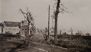 View of damaged stone buildings and trees