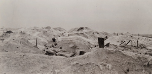 View of barren hillocks and trenches