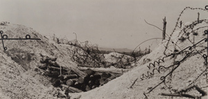 View of a German trench and barbed wire