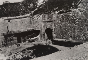 View of brick fortifications built into the side of a hill