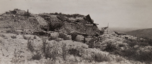 View of a large bunker covered with camouflage