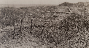 Three rifles sticking out of the ground along the top of a trench, Bayonet trench, Verdun