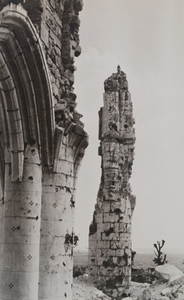 Close-up view of a badly damaged gothic archway