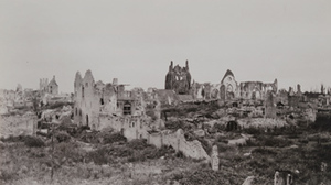 Ground-level view of destroyed buildings and towers, Ypres, 1919