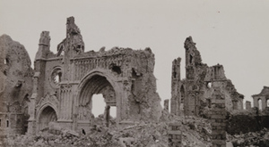 Remnants of a gothic arch from a destroyed stone building, Ypres, 1919