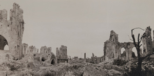 Wide view of remnants of a gothic arch from a destroyed stone building, Ypres, 1919
