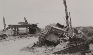Remains of overturned tanks lying on the side of the road, near Poelkapelle
