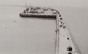 View from above of pedestrains strolling along a long concrete pier with ship-to-shore cranes in the distance