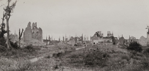 View of a road leading to a destroyed town, Nieuport [Nieuwpoort]