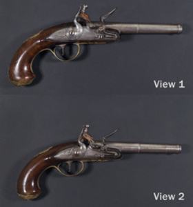 Flintlock turn-off pistols belonging to Artemas Ward