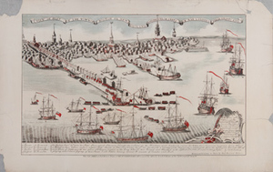 A View of Part of the Town of Boston in New England and Brittish [sic] Ships of War Landing Their Troops 1768
