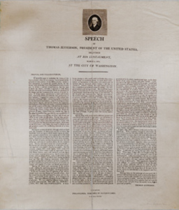 Speech of Thomas Jefferson, President of the United States, Delivered at his Instalment, March 4, 1801, at the City of Washington