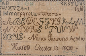 Nancy Parsons, marking sampler, Hatfield, Mass.