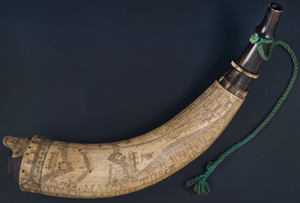 Powder horn scribed by Samuel Selden
