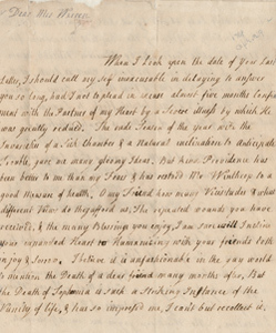 Letter from Hannah Winthrop to Mercy Otis Warren, 29 April 1769