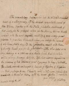 Letter from Hannah Winthrop to Mercy Otis Warren, 1 May 1776