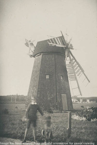 Windmill, boy and dog in foreground, at Falmouth