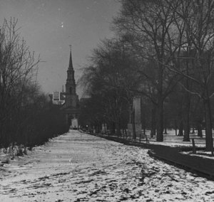 """Arlington St. Church, seen from Public Garden"""
