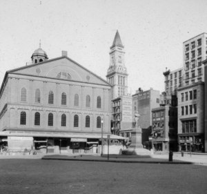 """Adams Sq., looking east to Faneuil Hall"""
