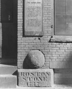 """Boston Stone, located in Marshall St."""