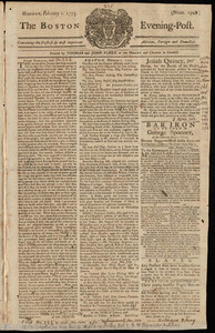 The Boston Evening-Post, 1 February 1773