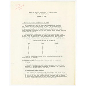 Notes for meeting between Mr. R. Rutherford and Mrs. J. Keith Butters