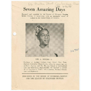 Advertisement for book, Seven amazing days, about Eze A. Ogueri II