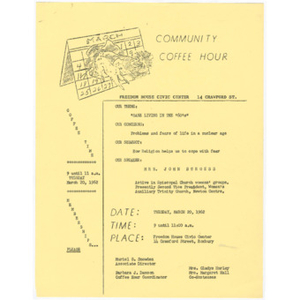 Flier for Community Coffee Hour featuring Mrs. John Burgess about safety and religion in the nuclear age