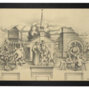 "Original Sketch of Post Office Mural entitled, ""Work, Religion, and Education"""
