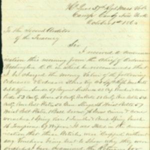 Letter to the Second Auditor of the United States Treasury