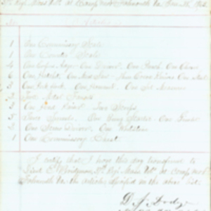 List of Commissary Property Transferred, January 1833, D[aniel] J. Dodge