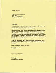 Letter from Mark H. McCormack to C. Lane Fortinberry