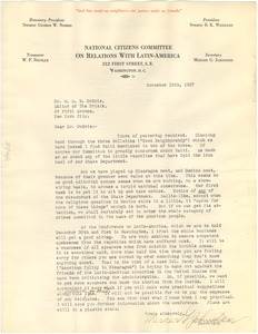 Letter from National Citizens Committee on Relations with Latin-America to W. E. B. Du Bois