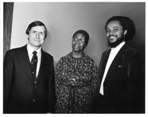 Gwendolyn Brooks, Edward Clark, and Byron Rushing during Brooks' visit to Suffolk University to give a poetry reading and lecture, 27 October 1977
