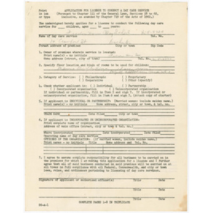 Application for license to conduct a day care service