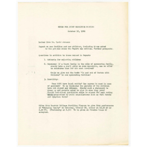 Agenda for October 18, 1966 Trinity Church-Freedom House Joint Committee meeting