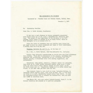 Agenda for November 17, 1966 meeting of N.E.F.C. sponsoring families and list of recipients