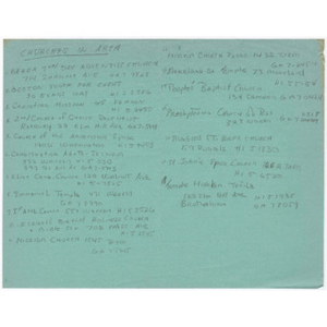 Administrative notes about Churches in area