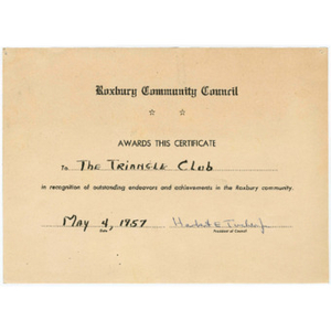 Award from the Roxbury Community Council to the Triangle Club