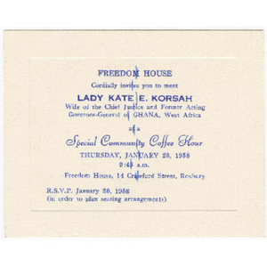 Invitation for Freedom House Coffee Hour event with Lady Kate E. Korsah, wife of the Chief Justice and former Acting Governor-General of Ghana, West Africa