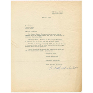 Letter from Lee Covan and Edith Walbott of the Modern Camera Club to Otto Phillip Snowden