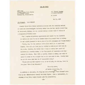 Press release containing thank you note from Martin Luther King, Jr. for reception at Freedom House