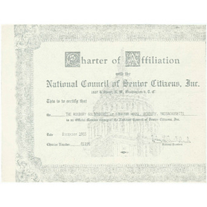 Charter of affiliation with the national council of Senior Citizens, Inc.
