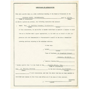 Certificate authorizing Otto Phillip Snowden to execute a contract with the Commonwealth of Massachusetts Council on the Arts and Humanities